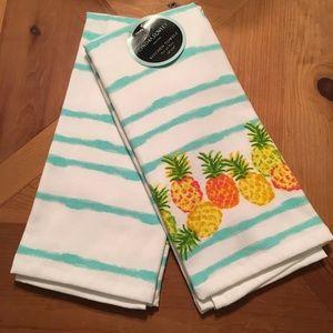 Cynthia Rowley Other   Kitchen Towels Pineapple Orange Green Aqua Waves